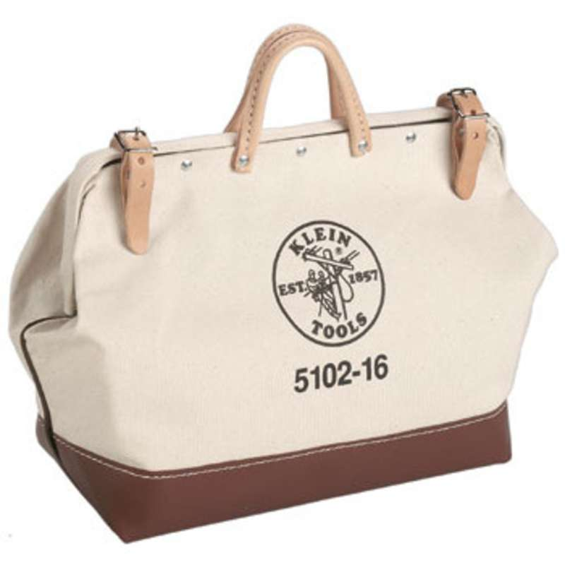 """Canvas Tool Bag with Steel Frame Mouth and Leather Handles, 16 x 6 x 14"""""""