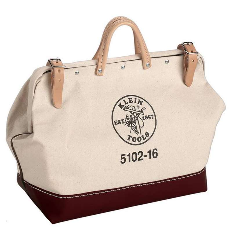 """Canvas Tool Bag with Steel Frame Mouth and Leather Handles, 20 x 6 x 15"""""""