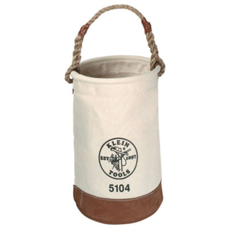 """Canvas Tool Bucket with Leather Bottom and Polypropylene Rope Handle, Ø12 x 17"""""""