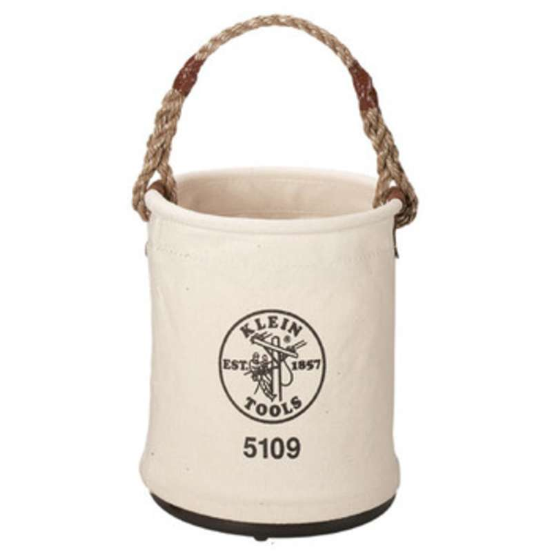 Canvas Straight Wall Tool Bucket with Cycolac Molded Bottom and Polypropylene Rope Handle, Ø12 x 15""