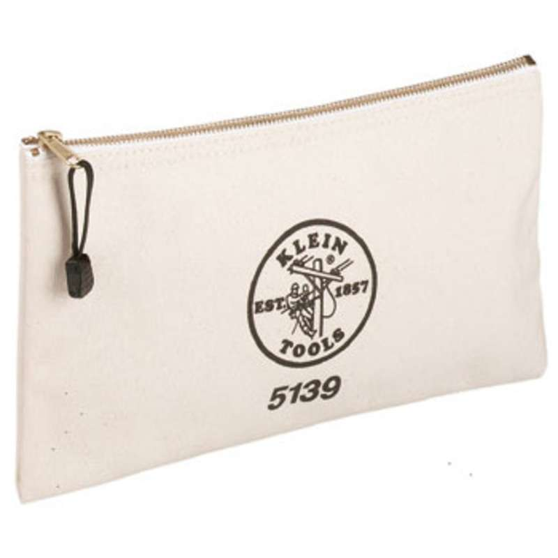 Canvas Zipper Bag, White, 7 x 12-1/2""