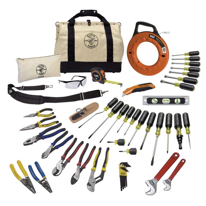 "Journeyman Tool Set in 18"" Canvas 10-Pocket Tool Bag with Leather Bottom, 41 Pieces"