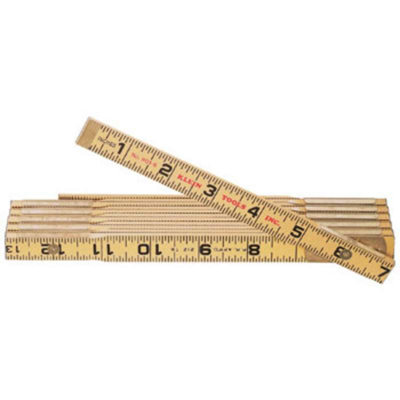 Folding Wood Ruler Yellow with Black Markings, 6'