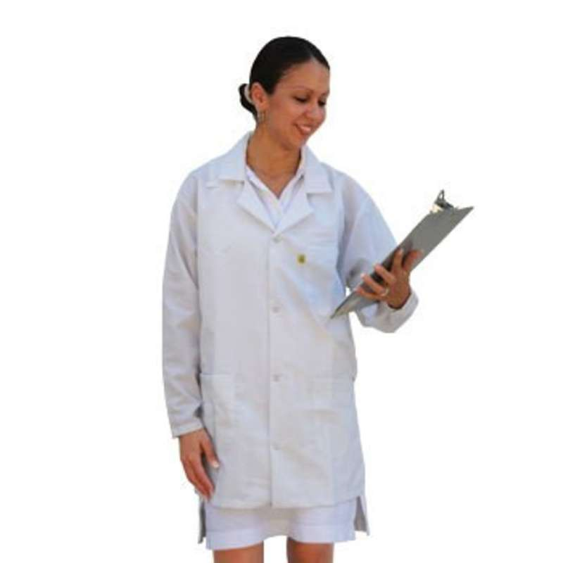 """ESD-Safe Medium Weight Jacket, White, X-Small, 31-1/2"""" Long"""