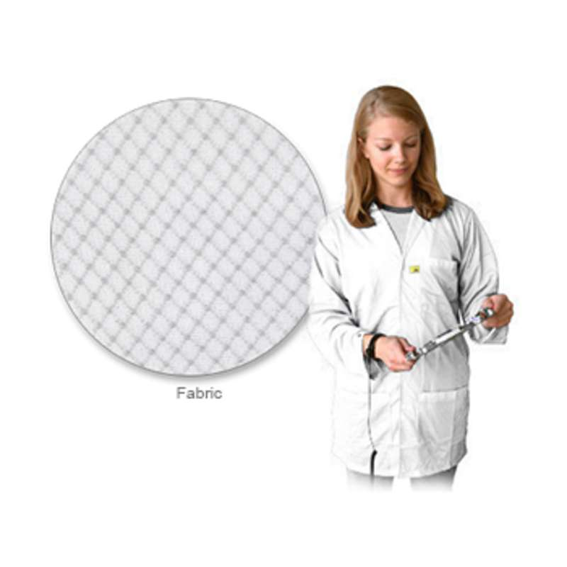 """ESD-Safe Lightweight 3/4 Length Lab Coat with Snap Cuffs and Three Pockets, White, Large, 31"""" Long"""