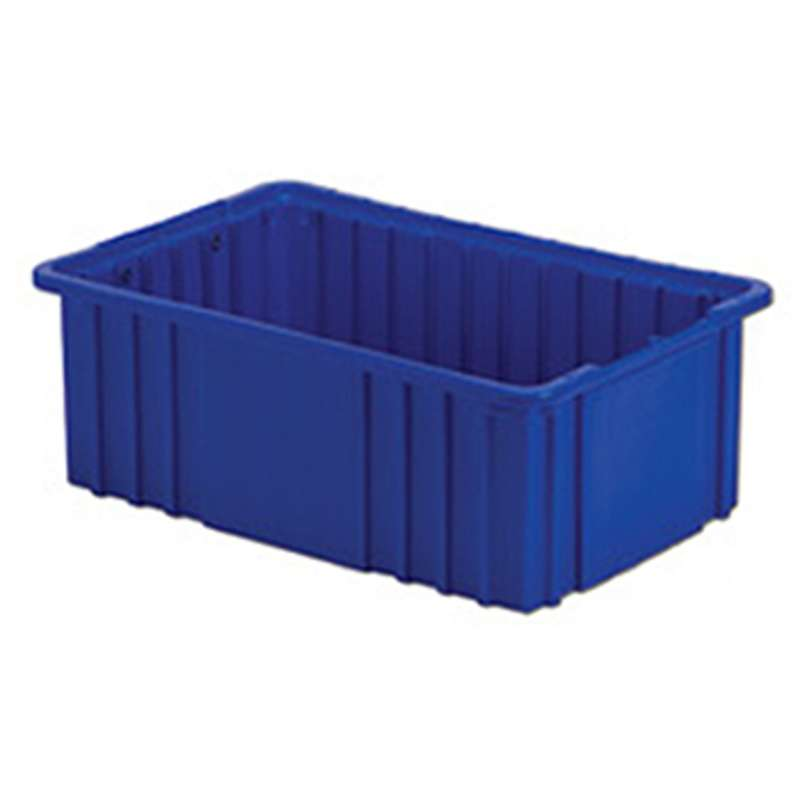 "Non-ESD Stackable Divider Tote Box, Blue, 14-7/8 x 9-5/16 x 6"" ID, Dividers Sold Separately"