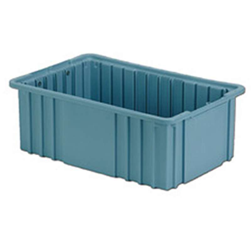 """Non-ESD Stackable Divider Tote Box, Light Blue, 14-7/8 x 9-5/16 x 6"""" ID, Dividers Sold Separately"""