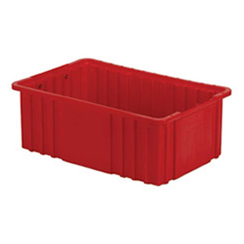 """Non-ESD Stackable Divider Tote Box, Red, 14-15/16 x 9-5/16 x 3-7/16"""" ID (Dividers not Included)"""