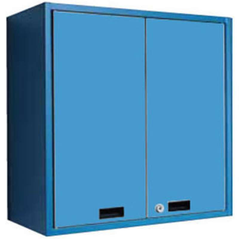 "Overhead Cabinet with Adjustable Shelf, Hinged Doors and Keyed Individually, Bright Blue, 36""W x 15""D x 29""H"