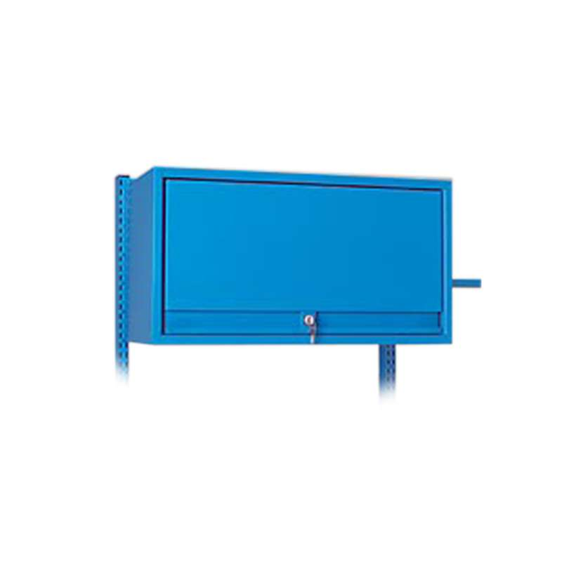 "Overhead Cabinet with Retractable Door, Bright Blue, 36""W x 15""D x 16""H"