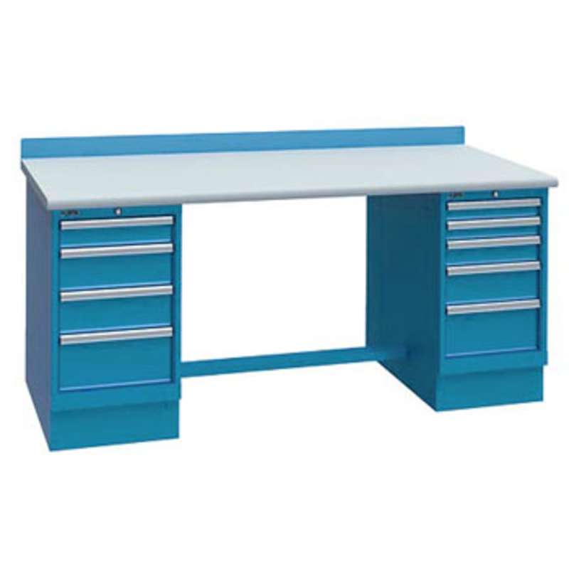 """ESD-Safe Workbench with One 3-Drawer and One 5-Drawer Cabinet Pedestal, Classic Blue, 30 x 60"""""""