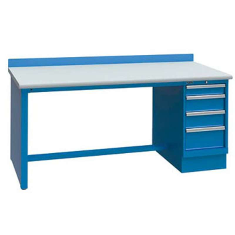 """Non-ESD Workbench with One 4-Drawer Cabinet Pedestal, Bright Blue, 30 x 60"""""""