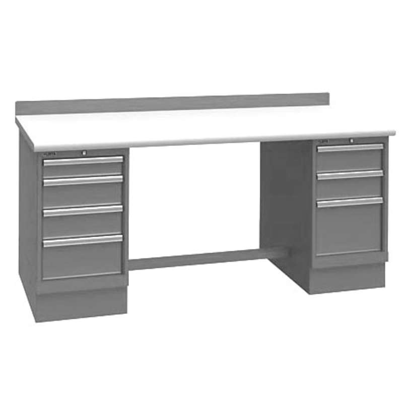 Non-ESD Workbench with One 4-Drawer and One 3-Drawer Cabinet Pedestal, Light Grey, 30 x 72""