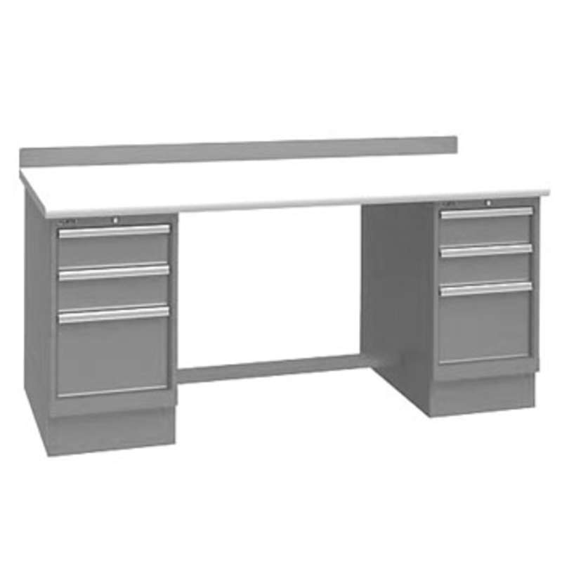"""ESD-Safe Workbench with Two 3-Drawer Cabinet Pedestals, Light Grey, 30 x 60"""""""