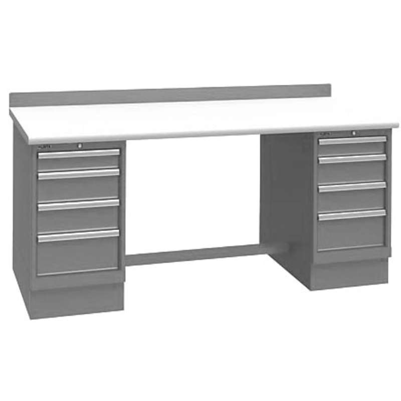 """Non-ESD Workbench with Two 4-Drawer Cabinet Pedestals, Light Grey, 30 x 72"""""""