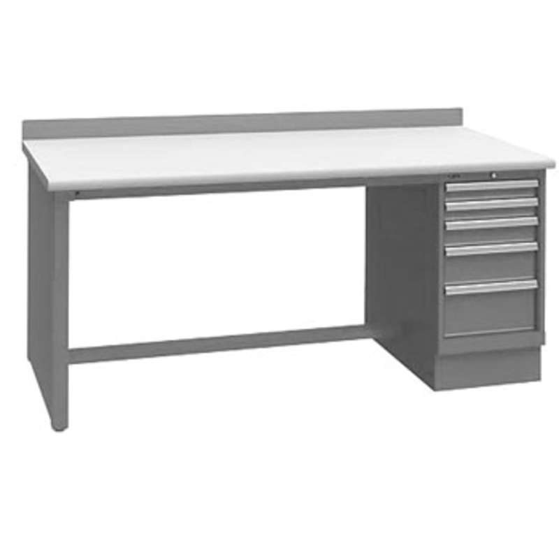 """ESD-Safe Workbench with One 5-Drawer Cabinet Pedestal, Light Grey, 30 x 60"""""""