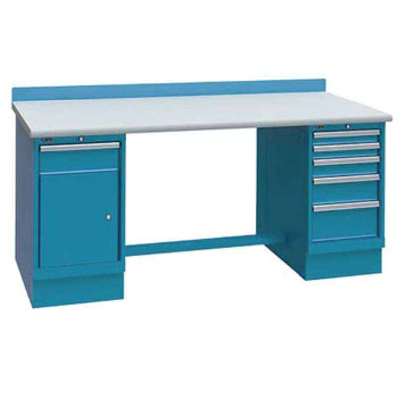 ESD-Safe Workbench with One 1-Drawer and One 5-Drawer Cabinet Pedestal, Classic Blue, 30 x 60""