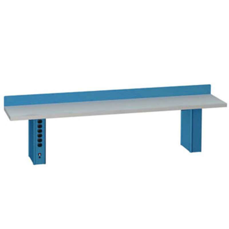 ESD-Safe Instrument Riser Shelf with Two Powered Shelf Supports, Classic Blue, 15 x 72""