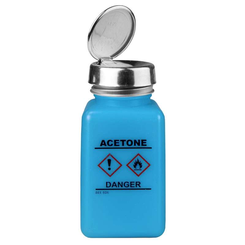 durAstatic™ ESD-Safe Acetone Solvent Dispenser Bottle with HCS Label and One-Touch Pump Lid, Blue, 6 oz.
