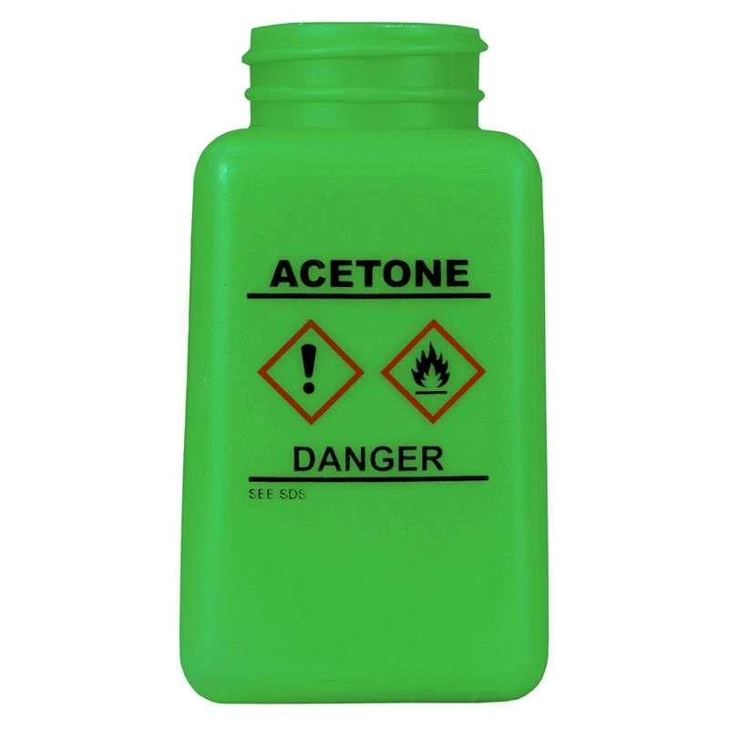 durAstatic™ ESD-Safe Acetone Solvent Dispenser Bottle with HCS Label and No Lid, Green 6 oz.