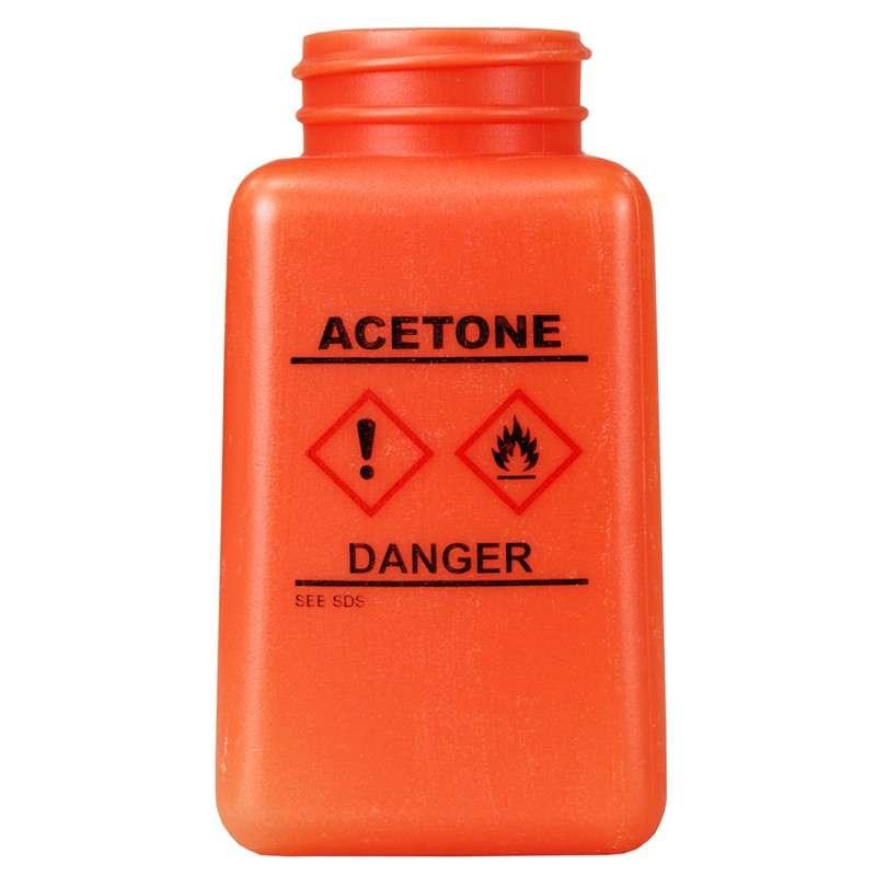 durAstatic™ ESD-Safe Acetone Solvent Dispenser Bottle with HCS Label and No Lid, Orange, 6 oz.