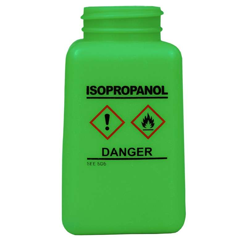 durAstatic™ ESD-Safe IPA Solvent Dispenser Bottle with HCS Label and No Lid, Green, 6 oz.