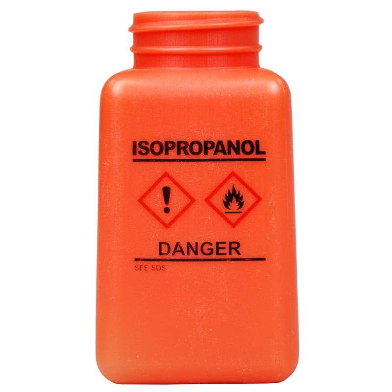 durAstatic™ ESD-Safe IPA Solvent Dispenser Bottle with HCS Label and No Lid, Orange, 6 oz.