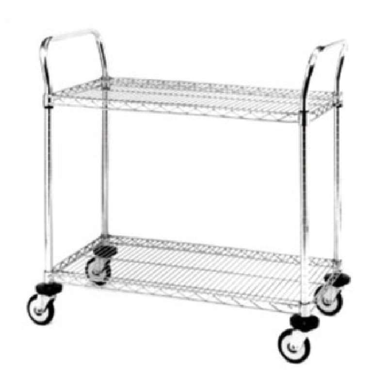 "Heavy Duty Utility Cart, 2 Chrome Wire Shelves, 24""W x 42""L x 39""H"