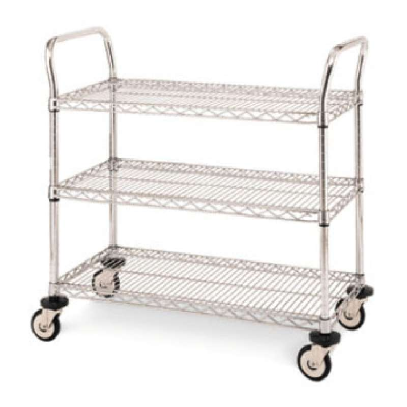 "Heavy Duty Utility Cart with 3 Brite Wire Shelves and Casters, 18"" x 42"" x 39"""
