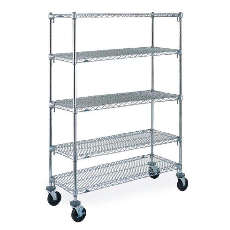 """Super Adjustable 2 Wire Shelving Unit, 5-Shelves, Chrome, 18 x 42 x 74"""""""