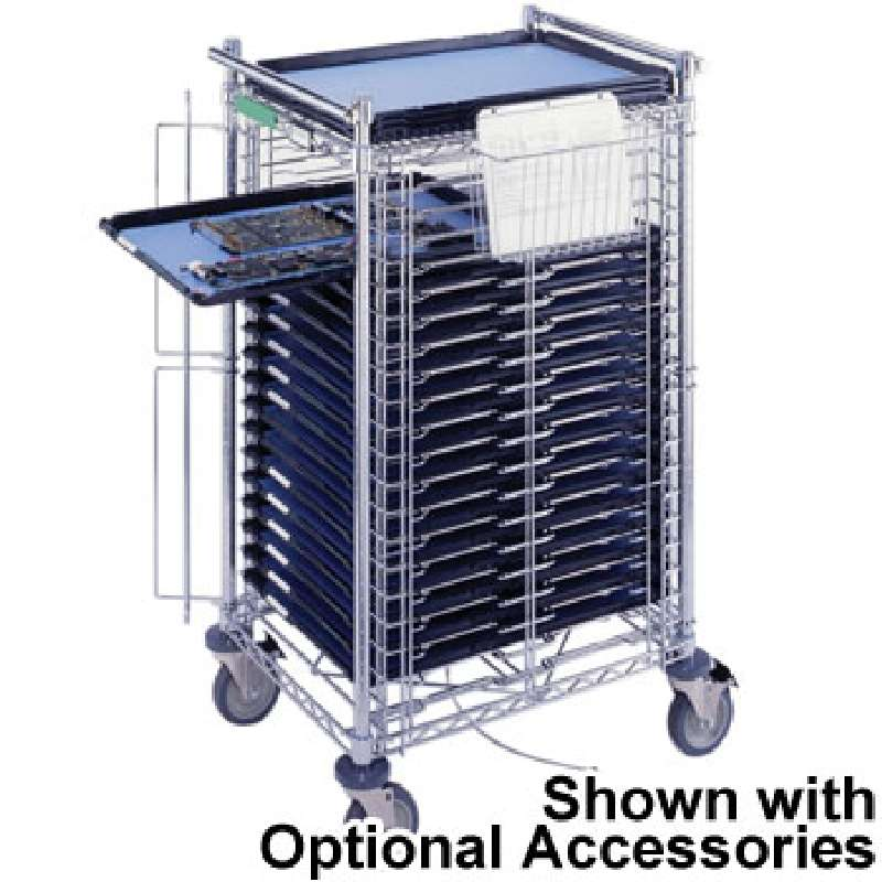 "PCB Tray Cart, Front Loading, 28 x 22 x 49"", Includes 30 Trays and Economy Inlays"