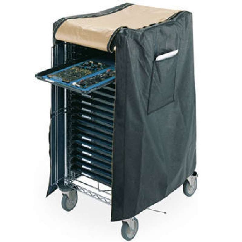 "ESD-Safe Vinyl Cart Cover with Brass Zippered Front Flap and Side Paperwork Pouch, 30"" x 23"" x 55"""