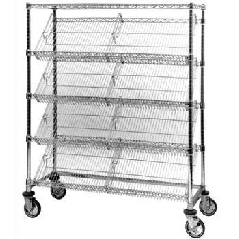 """Mobile Chrome Wire Shelving Unit with 4-Slanted Shelves and 1-Flat Top Shelf, 18 x 48 x 60"""""""
