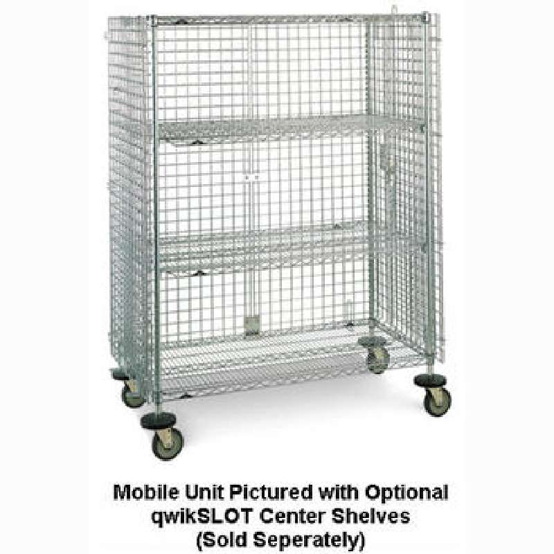"qwikSLOT Stationary Security Cabinet 21.5 x 38.5 x 67"", Chrome Wire"