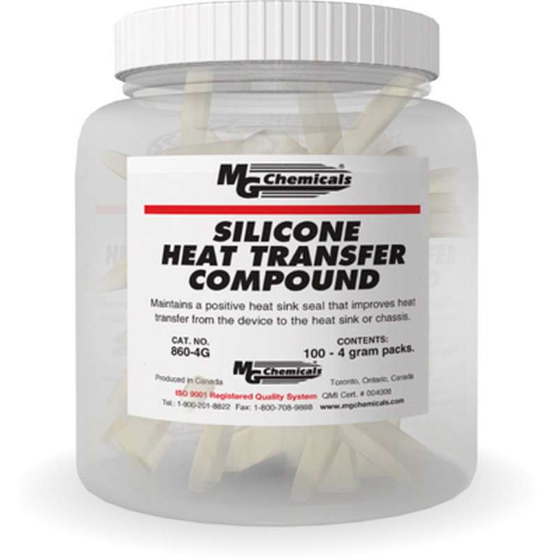 Silicone Heat Transfer Compound, White, 4 Gram Pack, Pail Of 100