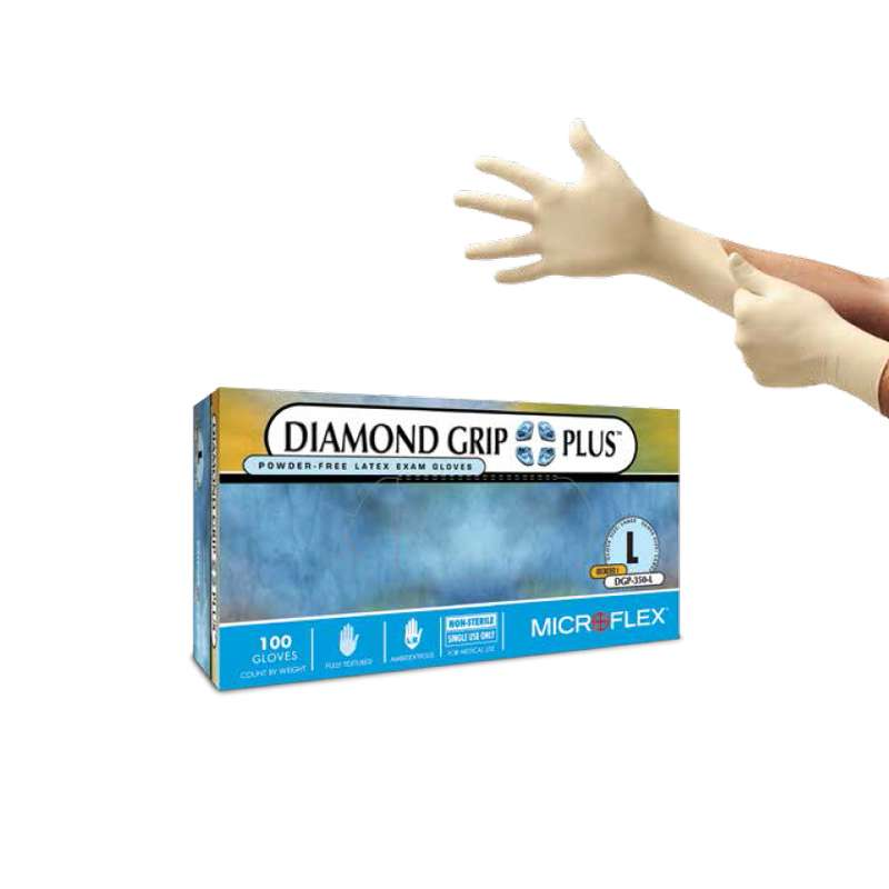 "Diamond Grip Plus™ Powder Free Textured Natural Color 5mil Latex Gloves, X-Large, 9.5"" Long, 100 per Box"