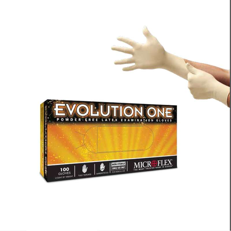 """Evolution One® Powder Free Textured Natural Color 5mil Latex Gloves, X-Large, 9.5"""" Long, 100 per Box"""