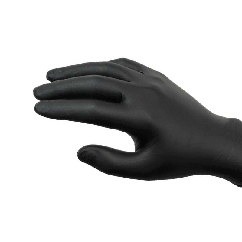 "Midknight® Powder Free Textured Black 5mil Nitrile Gloves, Medium, 9.5"" Long, 100 per Box"