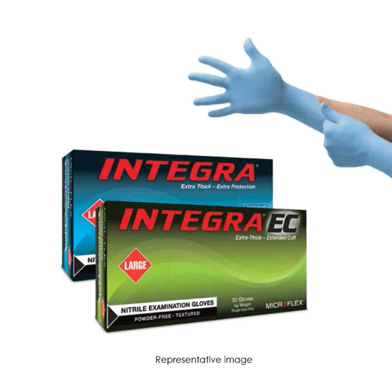 "Integra® Powder Free Textured Blue 8mil Nitrile Gloves, X-Large, 9.5"" Long, 50 per Box"