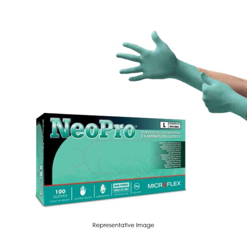 "NeoPro® Powder Free Textured Green 5mil Chloroprene Gloves, X-Large, 9.5"" Long, 100 per Box"
