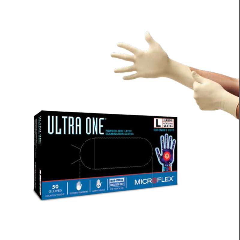 "Ultra One® Powder Free Textured Natural Color 11mil Latex Gloves, Large, 12"" Long, 50 per Box"