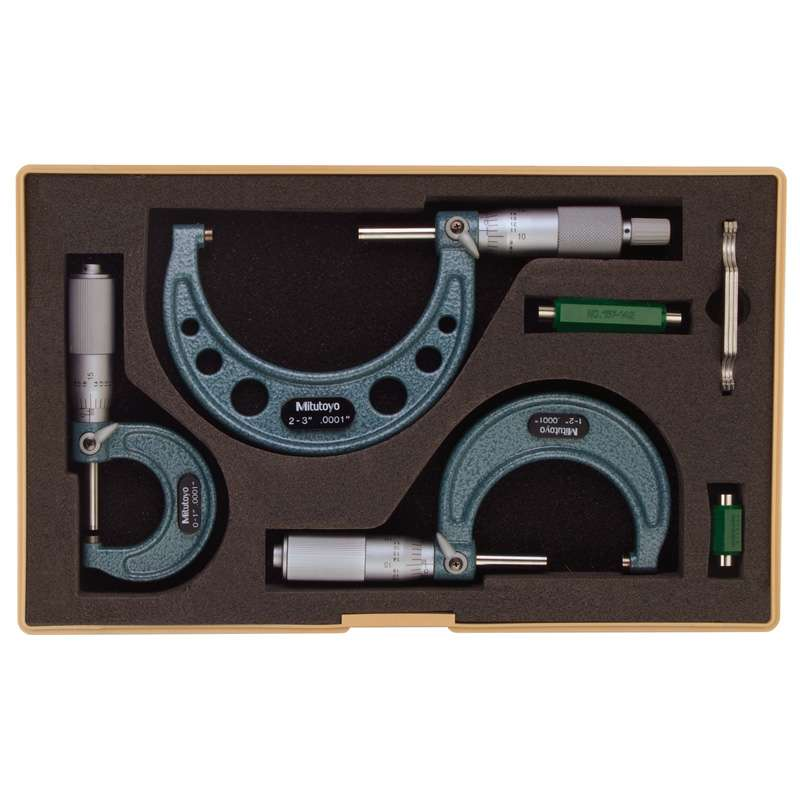 "Series 103 Outside Micrometer Set with Standards and Fitted Plastic Case, 0-3"" Range"