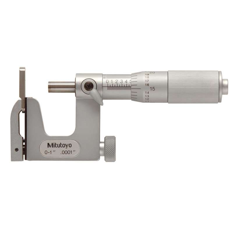 """Series 117 Uni-Mike Micrometer with Interchangeable Anvil and Satin Chrome Finish, 0-1"""" Range"""