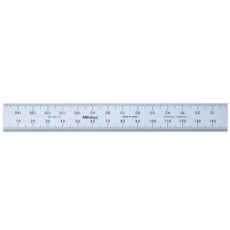 Tempered Stainless Steel Rule with Clear Graduations and Satin Chrome Finish, 150mm Long