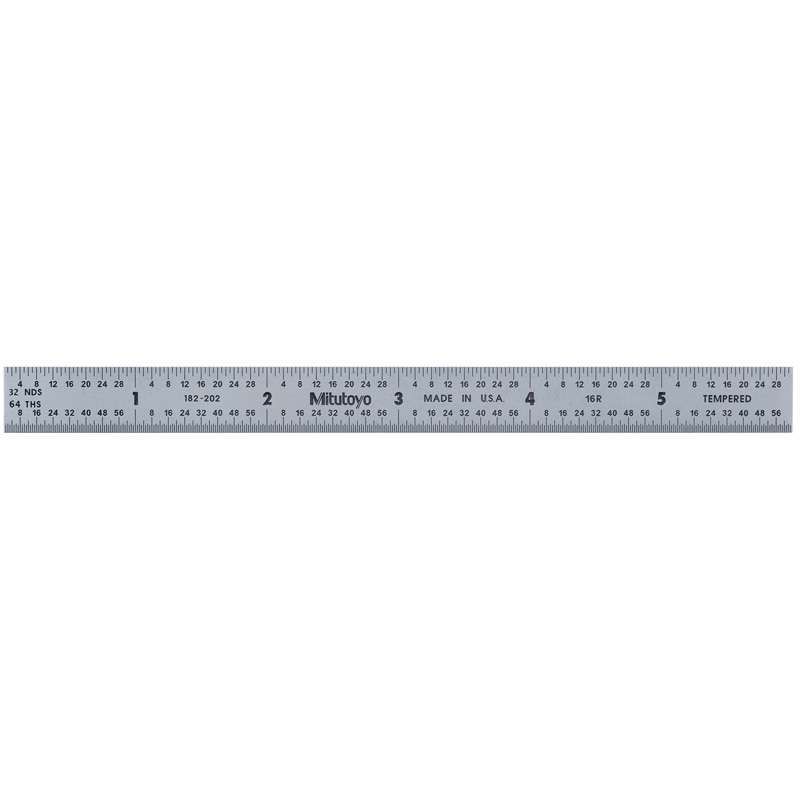 """Full Flexible Tempered Stainless Steel Rule with Clear Graduations and Chrome Finish, 6"""" Long (16R)"""