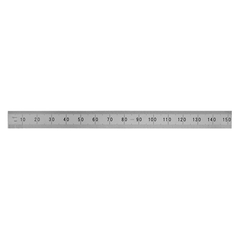 """Full Flexible Tempered Stainless Steel Rule with Clear Graduations and Chrome Finish, 6"""" X150mm Long"""