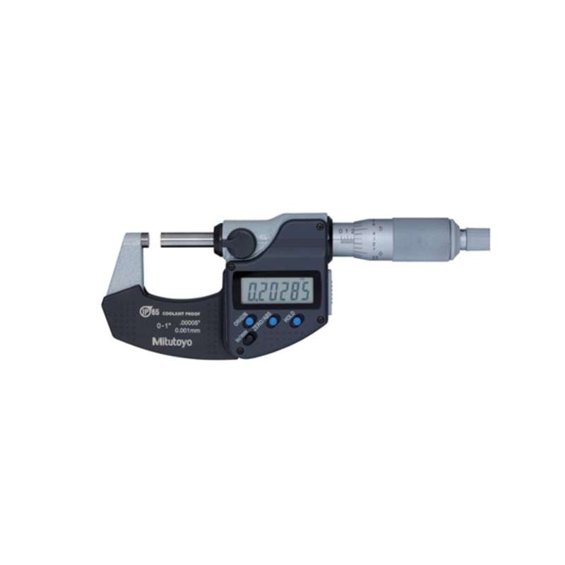 """Series 293 Coolant Proof Micrometer with IP65 Protection and SPC Data Output, Ratchet Stop with Standard, 1-2""""/25.4 - 50.8mm Range"""