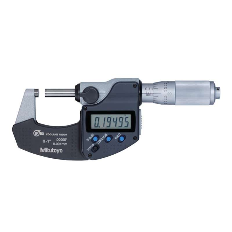 """Series 293 Coolant Proof Micrometer with IP65 Protection and SPC Data Output, 0-1""""/25.4mm Range"""