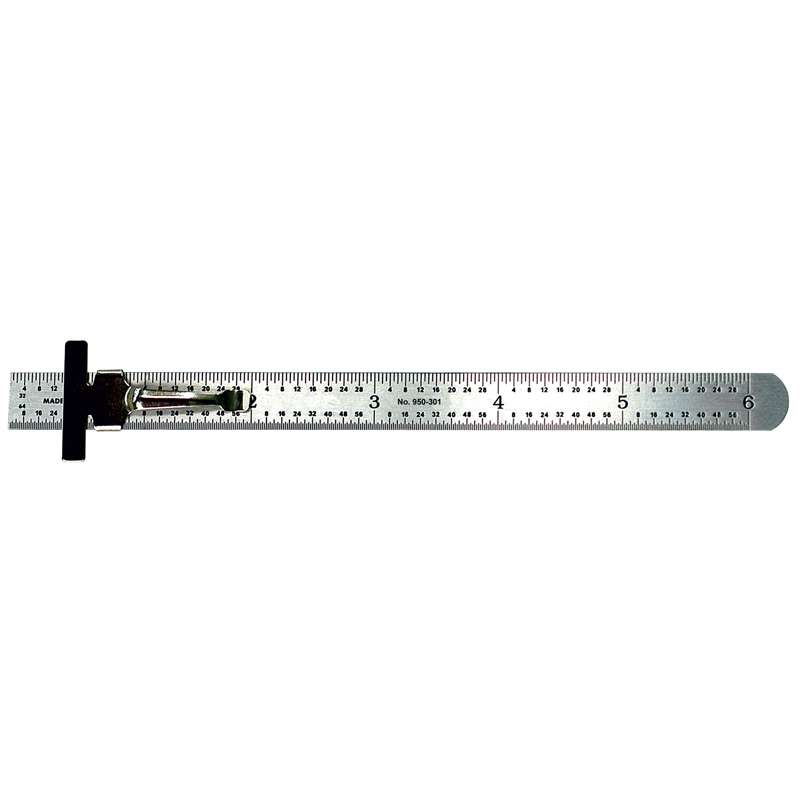 "Series 950 Pocket Steel Rule with Inch/Metric Equivalents and Clip, 6"" Long"