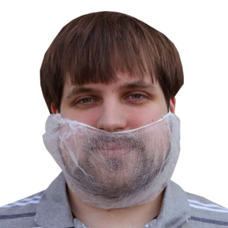 """Cleanroom Disposable Beard Cover 10 x 18"""", White, 1000 per Case"""